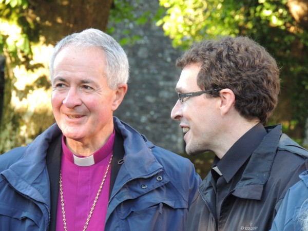 Bishop Dominic Walker who successfully preached for the Whittington Purse chatting to Rev David Treharne